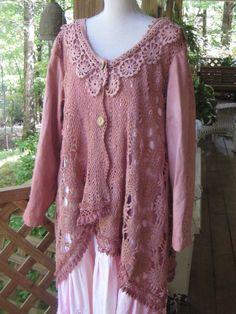 Vintage Crocheted Winter Jacket of Wine Color