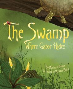 "2014 Moonbeam Medalist - Picture Book, 4-8 Year Old. ""Under the algae that carpets the swamp, near the duck who paddles in ooze, close to the turtle who takes a snooze . . . hides a gator! Still as a log, only his watchful eyes can be seen. But when gator moves, he really moves! What happens to the duck, the turtle, the egret, the deer, and the many other critters of the swamp when gator makes his move? Children will search for the gator and get a glimpse of real life in a swamp."""