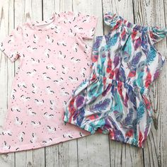 Baby Girl Feather Print Flutter Sleeve Playsuit - Baby / Toddler Pink Unicorn T-shirt Dress