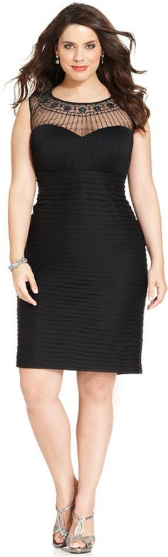 Patra Plus Size Illusion Embellished Pleated Sheath