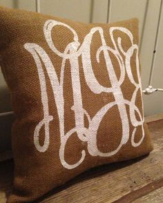 monogrammed burlap pillow
