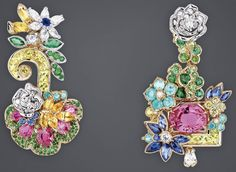 """DIOR 2017. """"Pink Sapphire Colonnade Grove"""" earrings in yellow, white and pink gold, diamonds, pink and yellow sapphires, sapphires, yellow tourmalines, Paraiba tourmalines, demantoid and tsavorite garnets, emeralds, yellow diamonds and hauyne #DIOR #DIORÀVersaillesCôtéJardins #DIORJewellery #HighJewelry #FineJewellery #HauteJoaillerie"""