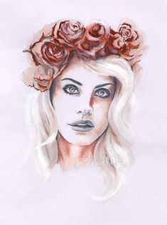 Lana del Rey, fanart, flowers, design, illustration ...