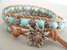 Mother's Day bracelet, Blue leather wrap bracelet, Greek leather bracelet, Flower bracelet, Trending bracelet, Summer bracelet. $24.00, via Etsy.