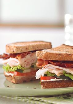 Garden-Style Club Sandwich – Crunchy cucumbers and sliced tomatoes give these turkey breast and bacon sandwiches their garden-party style and fresh summer flavor.