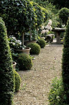 gravelled courtyard...