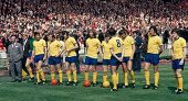 The Arsenal team lineup prior to the FA Cup Final against Liverpool at Wembley Stadium in London on 8th May 1971 Arsenal beat Liverpool 21 Left to...