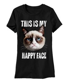 Black Grumpy Cat 'This Is My Happy Face' Tee