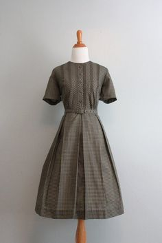 50s Dress / Vintage Checked Day Dress / 50s 60s Gingham Day Dress. $62.00, via Etsy.