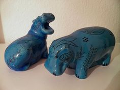 Bright-blue Egyptian faience figures of hippopotami (replicas from the British Museum and Louvre). These hippopotami were placed in the tombs of high-ranking civil servants toward the end of the Middle Kingdom (1650-1550 BCE)