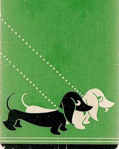 Vintage 1940s 50s Dachshund   Playing Trading Swap Card