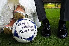 Fun wedding photo idea for brides and grooms who love soccer. Both of them should have a foot on the ball ad be in cleats. :)