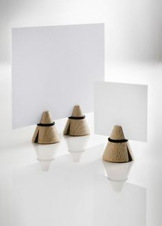 Tout Simplement i-Cone Natural Photo/Card Holder (Set of 3) - Trouva