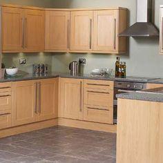 shaker beech kitchen what colour worktop? Beech Kitchen Cabinets, Shaker Kitchen Doors, Kitchen Cabinet Doors, Wooden Kitchen, Kitchen Flooring, Brown Kitchen Cupboards, Oak Cabinets, Kitchen Wall Colors, Kitchen Paint