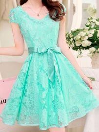 Chic Women Blue Green Lace O-Neck Short Sleeve Tie Waist A-Line Mini Casual Dress