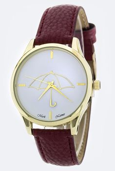 Sincerely Sweet Watch - Rainy Days Iconic Umbrella Watch in Maroon