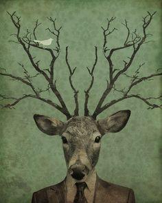 Deer Art Print Antler Art Leroy's Antlers Art by LuciusArt Gravure Illustration, Art And Illustration, Deer Art, Moose Art, Antler Art, Oh Deer, Animal Heads, Art Graphique, Illustrations