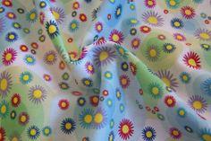 Kreise Blumen Blüten Punkte Dots Popeline Kinderstoff Meterware ab 25cm x 146cm