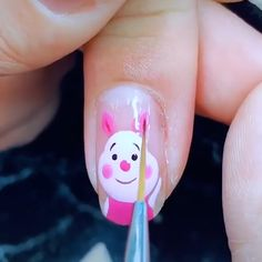 Cartoon Nail Designs, Nail Art Designs Videos, Cute Nail Art Designs, Nail Art Videos, Nail Polish Designs, Nails Design, Pig Nail Art, Pig Nails, Animal Nail Art