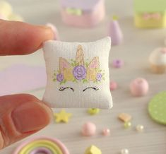 2018.04 Miniature Unicorn pillow Dollhouse ♡ ♡ By lilacdreamsminiature