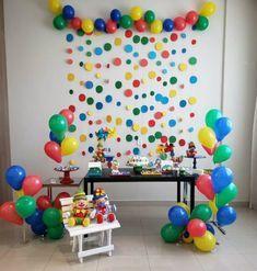 Festa Patati e Patatá Bouncy Ball Birthday, Lego Birthday Party, Birthday Backdrop, Diy Birthday Decorations, Carnival Birthday Parties, Rainbow Birthday, Birthday Party Design, Colorful Birthday Party, Baby