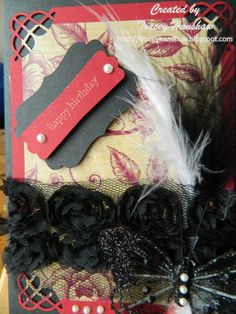 Feathers are making a huge impact in cardmaking and i am really enjoying added them to all my work.  Hope you enjoy my Gothic Elegance style  http://traceyhanshaw.blogspot.com.au/  http://www.facebook.com/Acutepunches  http://pinterest.com/acutepunches/