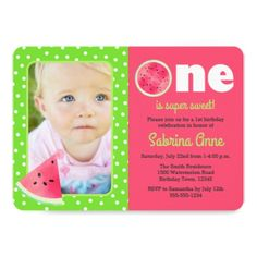 #Watermelon First Birthday One is Sweet  Photo Card - #birthdayinvitation #birthday #party #invitation #cool #parties #invitations