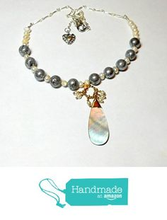 Handmade necklace with mother of pearl pendant, silver druzy agate beads, white cultured freshwater pearls by BethExpressions from BethExpressions https://www.amazon.com/dp/B01N6EVNQZ/ref=hnd_sw_r_pi_dp_H4ctyb28JZHQ7 #handmadeatamazon