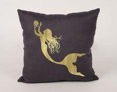 Mermaid  Cotton Throw Pillow Cover  16x16 18x18 20x20 by Daneeyo
