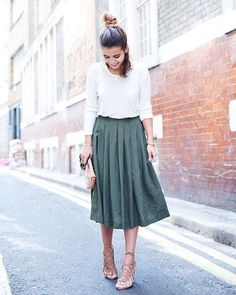 Sandals Summer Long sleeved shirt with a midi skirt and lace up sandals or flats - There is nothing more comfortable and cool to wear on your feet during the heat season than some flat sandals. Modest Clothing, Modest Dresses, Modest Fashion, Skirt Fashion, Rock Clothing, Modest Wear, Teen Clothing, Clothing Ideas, Fashion Outfits