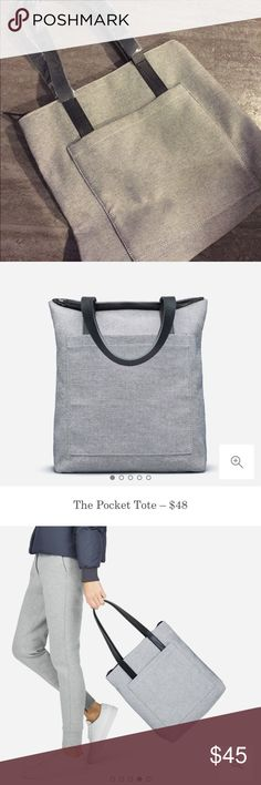 NEW! Everlane Zip Tote The pocket tote. Color: Grey. Brand new. Everlane Bags Totes