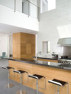 Modern Kitchen Design, Pictures, Remodel, Decor and room design Timber Kitchen, Kitchen Stools, New Kitchen, Home Design Decor, Interior Design Inspiration, House Design, Modern Kitchen Design, Interior Design Kitchen, Kitchen Designs