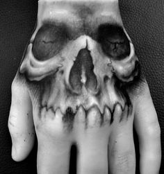 Freehand skull in black and grey on a Pound of Flesh hand. Check out POF on tattoo supply websites.