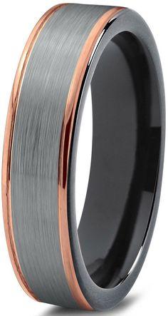Tungsten Wedding Ring7mmYellow Gold Inlayed Tungsten Wedding