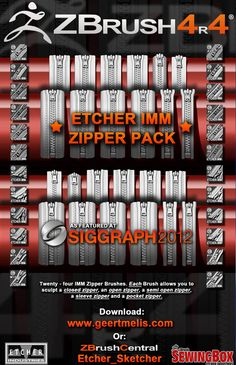 Geert Melis - Etcher IMM zipper pack for ZBrush