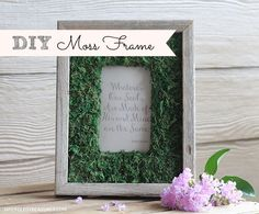 Click Here for a Tutorial on how to make a Moss Frame - Perfect for spring/summer decor or to use at a rustic/woodland wedding! http://upcycledtreasures.com/2013/07/diy-moss-frame/ #DIY #Moss #Wedding