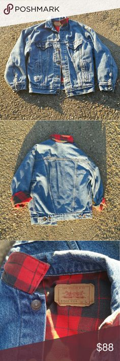 Vintage Levi's denim jacket Holy cow this vintage Levi's trucker jacket is amazing! Soo reluctant to sell but I have way too many jackets lol. Fully lined with comfy cotton buffalo plaid. In beautiful vintage condition! Two chest pockets and two side pockets. Flip the collar for some color! Tagged a large but I'm thinking it's a youth large, fits more like a medium or cute oversized look on a small! I'm a petite xs/s and it wasn't too bulky or fitted and the sleeves weren't crazy long on me…