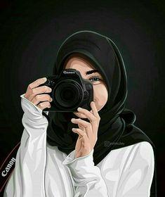 Tutorials hair flow art drawing inspiration i Hijabi Girl, Girl Hijab, Cute Cartoon Girl, Cartoon Art, Cartoon Design, Tmblr Girl, Cover Wattpad, Portrait Vector, Hijab Drawing