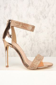 Sexy Rose Gold Rhinestone Open Toe Single Sole High Heels Patent