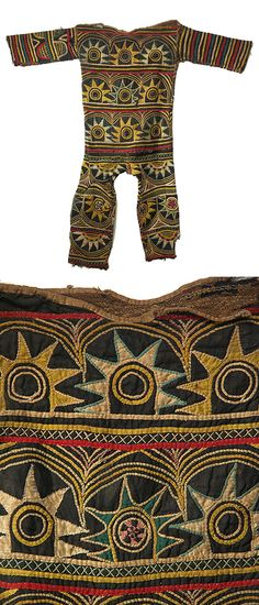 Africa | Dance costume from the Igbo people of Nigeria | It is intricately appliqued with the rising sun motif.