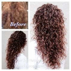 Before and after, Thick Curly Hair. To achieve this result gel should be applied section by section and gently defuse. Ombre Curly Hair, Curly Hair Cuts, Curly Hair Styles, Natural Hair Styles, Curly Perm, Long Natural Curls, Layered Curly Hair, Pretty Hairstyles, Wig Hairstyles