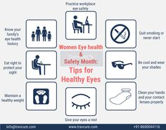 #WomensEyeHealthandSafety: Your eyes are an important part of your health. There are many things you can do to keep them healthy. Follow these simple steps for maintaining #HealthyEyes well into your golden years. #EyeCare