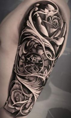 Time Hand Tattoos for Men . Time Hand Tattoos for Men . Clock Tattoo Sleeve, Best Sleeve Tattoos, Tattoo Sleeve Designs, Tattoo Designs Men, Sleeve Tattoo Men, Rose Tattoos For Men, Hand Tattoos For Guys, Trendy Tattoos, Tattoos Arm Mann