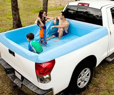 Classy up your driveway by transforming your ride into a true recreational vehicle with the truck bed swimming pool. Unlike those tacky plastic tarp and rope setups, this model perfectly molds to your truck's bed making it the ideal mobile party accessory.