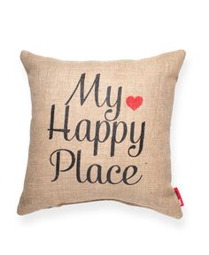 My Happy Place Burlap Throw Pillow