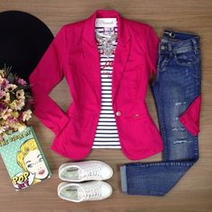 Best Casual Fashion Part 38 Jean Outfits, Chic Outfits, Fall Outfits, Summer Outfits, Fashion Outfits, Pink Blazer Outfits, Dress Fashion, Work Casual, Casual Chic