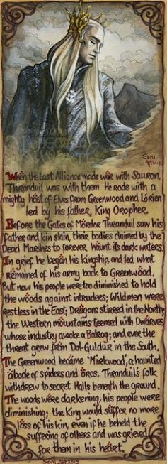 The reason the Elves didn't help. It's so sad. Thranduil was not a coward or a traitor to Thorin, though it may appear so in the movie. He was doing what he, as king, thought was best for his people. He couldn't risk that many lives again.