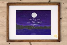An inspirational quote laden A4 art print designed and made by Kelly at Poppins & Co. Features an illustrated quote inspired by the track Spinning Away by Sugar Ray reads: One by one, all the stars appear  This is one for the travellers and adventurers, those with that wanderlust.  Digitally printed onto high-quality beautifully textured card. Frame NOT included.   Purchase includes:  1 x A4 Art Print  Product Details:  Size: A4 (210mm x 297mm) Quantity: 1 Card: High Quality 290GSM ivory…