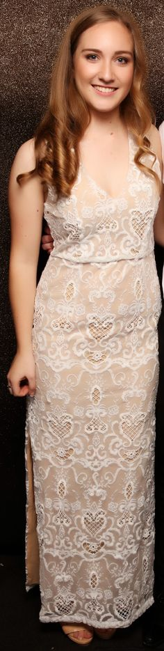 St Cuths Ball 2015. Love this nude and white combo! www.whitedoor.co.nz
