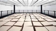 Zimoun + Hannes Zweifel : 20 prepared dc-motors, 81 cardboard boxes 70x70x70cm, 2014
